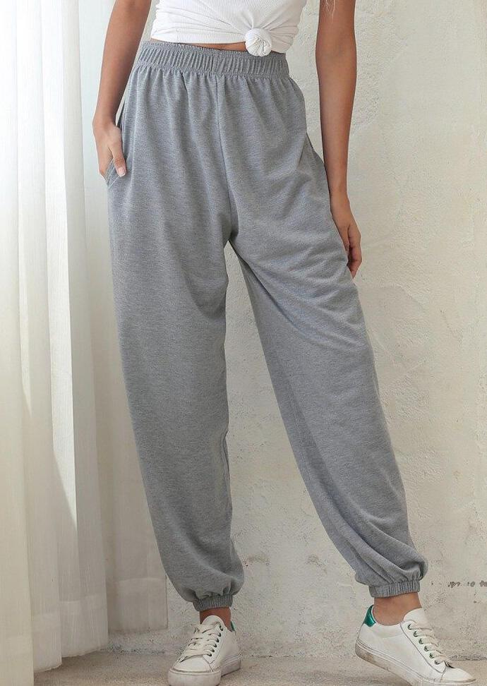 Pants Pocket Elastic Waist Pants in Gray. Size: XL фото