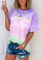 Daisy Floral Tie Dye T-Shirt Tee