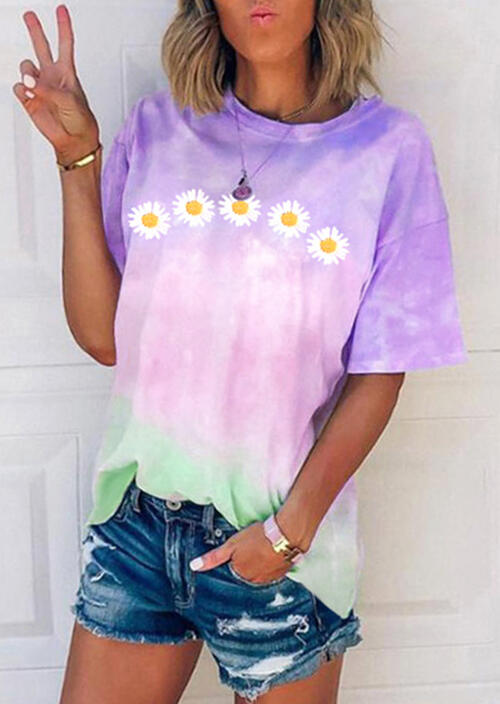 Tees T-shirts Daisy Floral Tie Dye T-Shirt Tee without Necklace in Purple. Size: S,M,L,XL фото