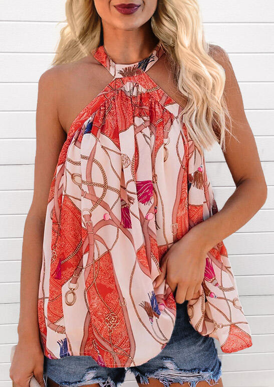 Blouses Floral Ruffled Button Halter Blouse in Multicolor. Size: S,M,L,XL фото