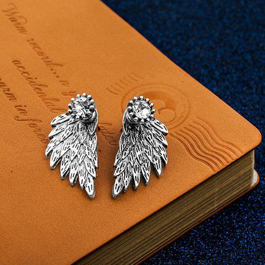 Shiny Rhinestone Angel Wing Stud Earrings фото