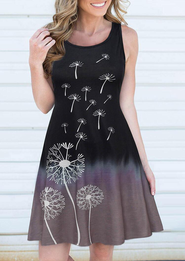 Dandelion Gradient O-Neck Mini Dress - Black фото