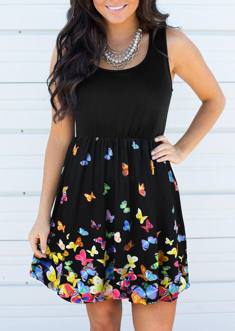 Butterfly Splicing Ruffled Mini Dress without Necklace - Black фото