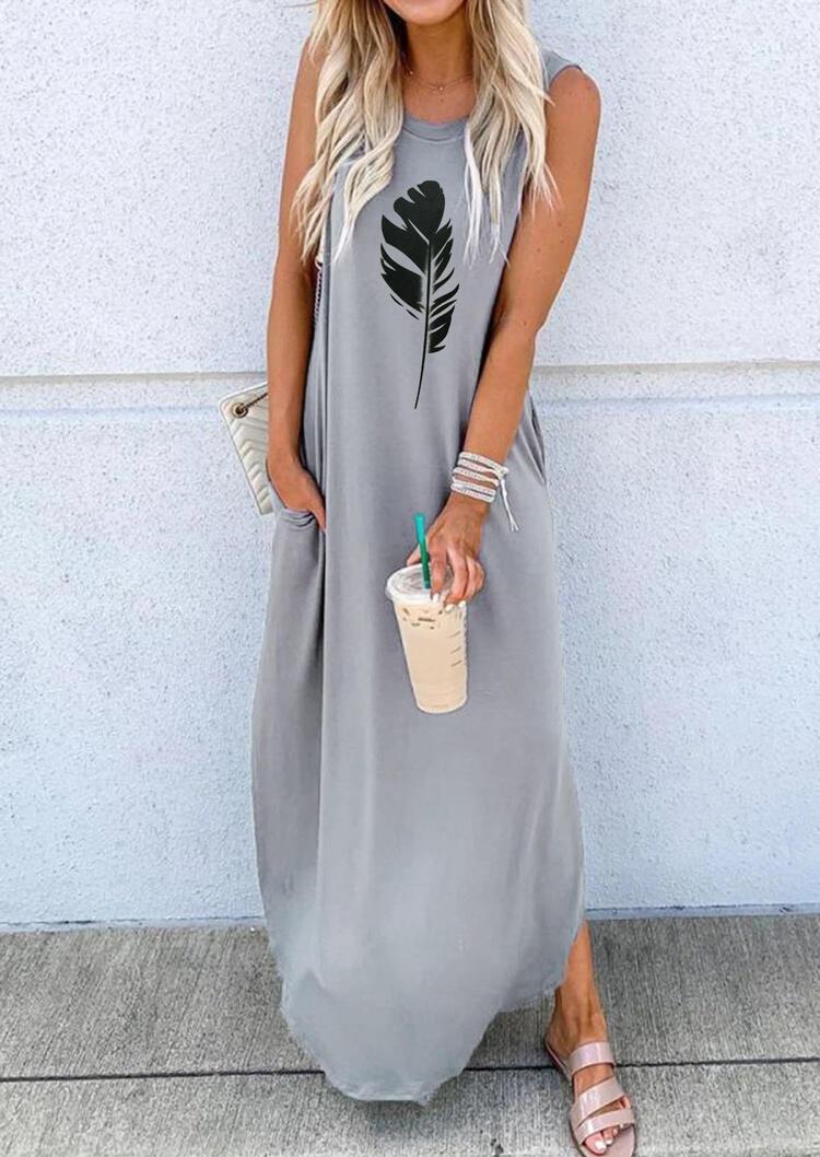 Feather Pocket Irregular Maxi Dress without Necklace - Light Grey фото