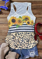 Sunflower Leopard Striped Splicing Tank