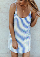 Striped Splicing Tie Open Back Mini Dress