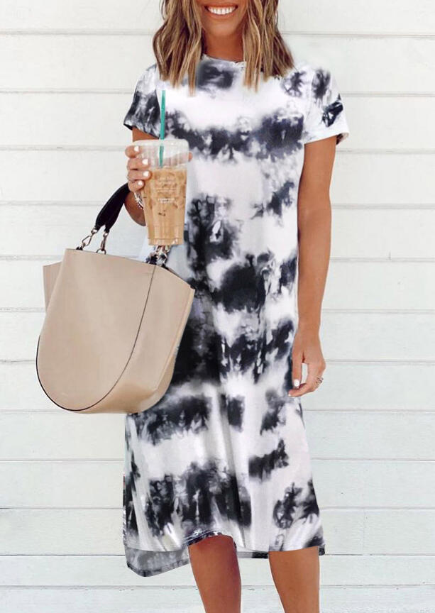 Casual Dresses Tie Dye Slit O-Neck Casual Dress without Necklace in White. Size: S,M,L фото