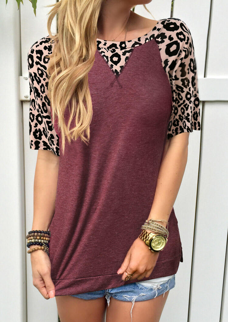 Leopard Splicing O-Neck T-Shirt Tee without Necklace - Burgundy, 476177