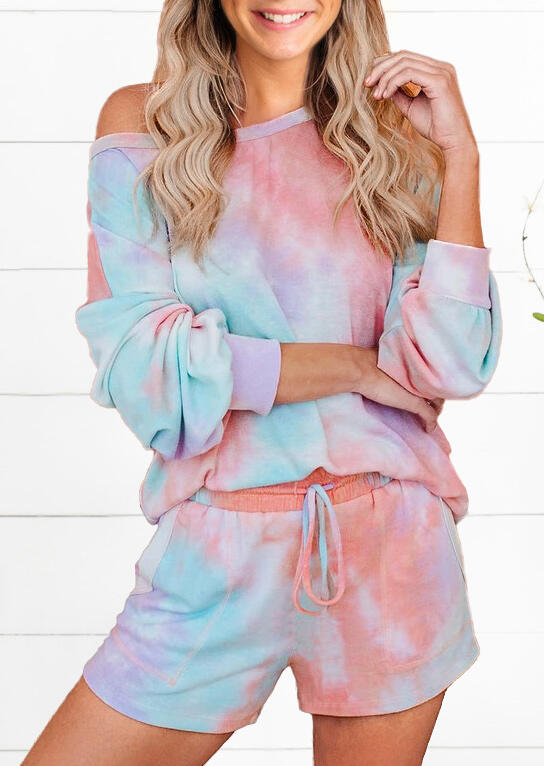 Two-Piece Sets Tie Dye T-Shirt Tee And Drawstring Shorts Two-Piece Set in Multicolor. Size: S,M,L,XL фото