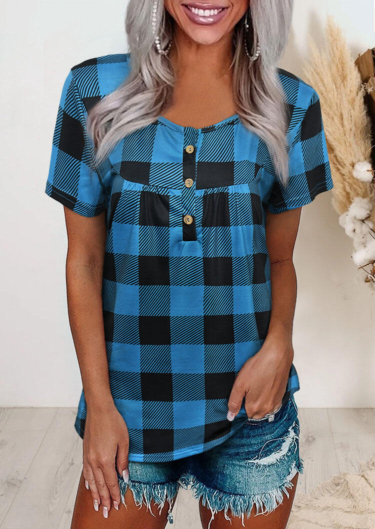 Blouses Plaid Splicing Ruffled Button Blouse in Blue. Size: S,M,L,XL фото