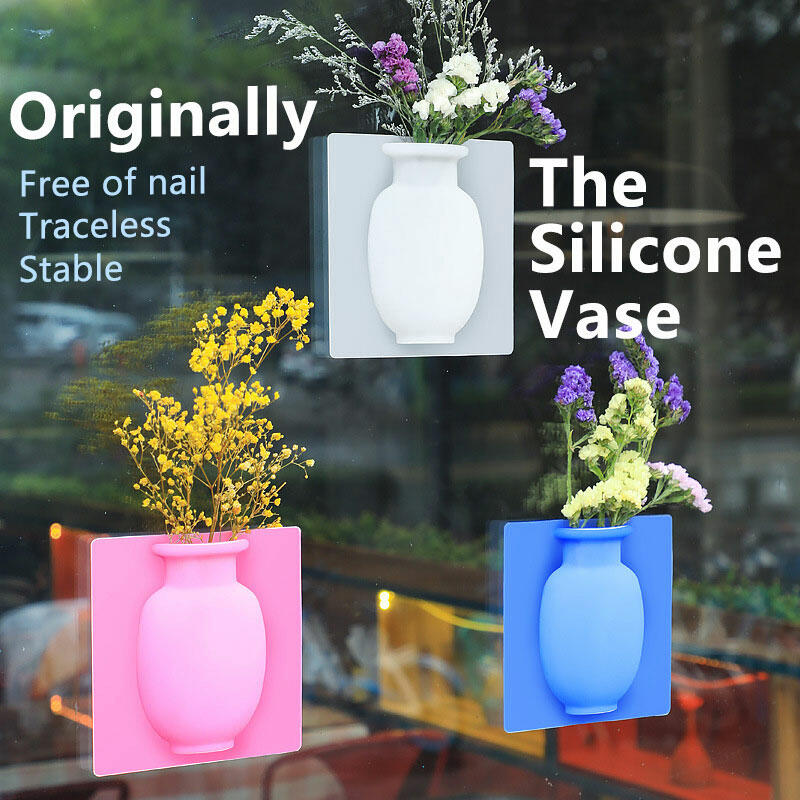 Home Decor Removable Silicone Flower Vase Decoration in White,Pink,Sky Blue. Size: One Size фото