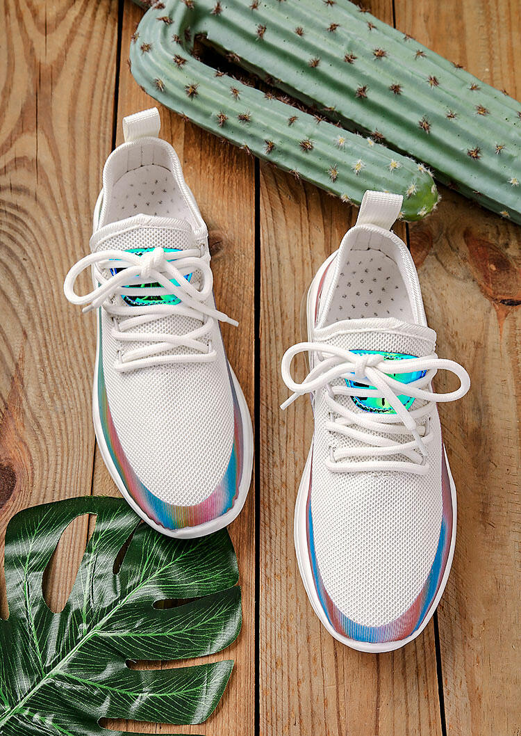 Sneakers Colorful Breathable Mesh Round Toe Lace Up Sneakers in White. Size: 37 фото