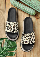 Leopard Rhinestone Wedged Slippers
