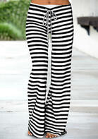 Striped Splicing Drawstring Wide Leg Pants