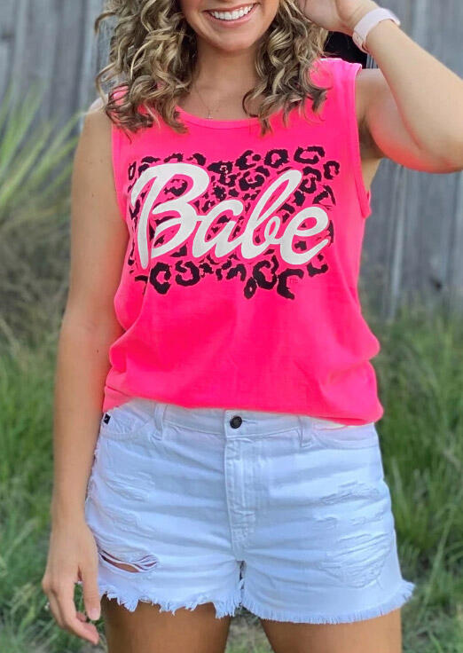 Leopard Babe O-Neck Casual Tank - Rose Red фото