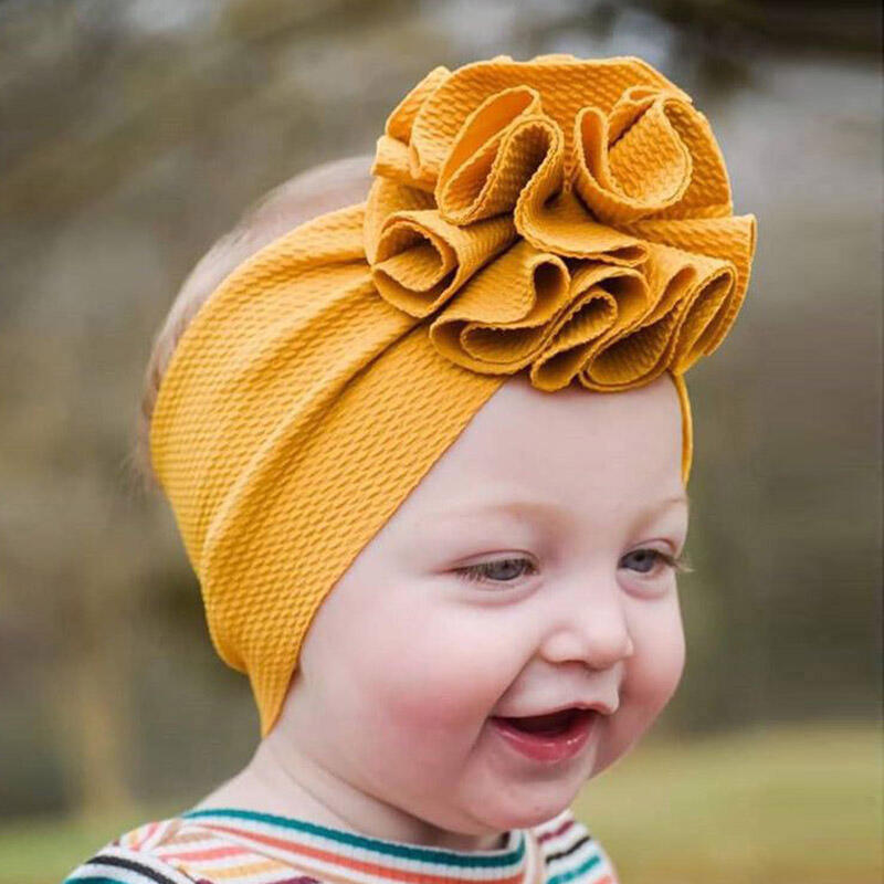 Hair Accessories Children's Flower Soft Wide Hair Headband in Yellow. Size: One Size фото
