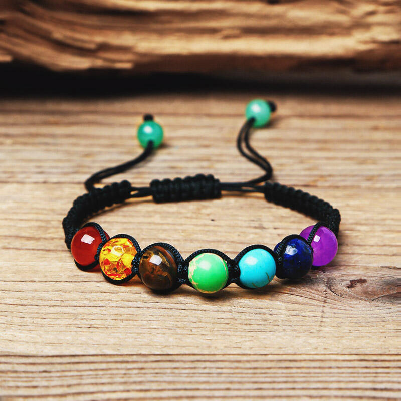 Bracelet Natural Stone Colorful Beads Chakra Bracelet in Multicolor. Size: One Size фото