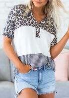 Leopard Color Block Striped Splicing Button Blouse
