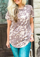Cow Leopard T-Shirt Tee - Cameo Brown