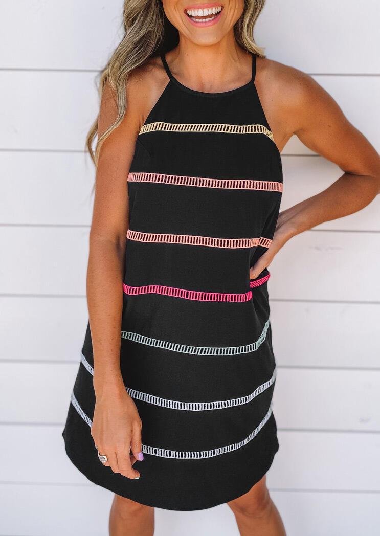 Striped Hollow Out Button Halter Mini Dress - Black фото