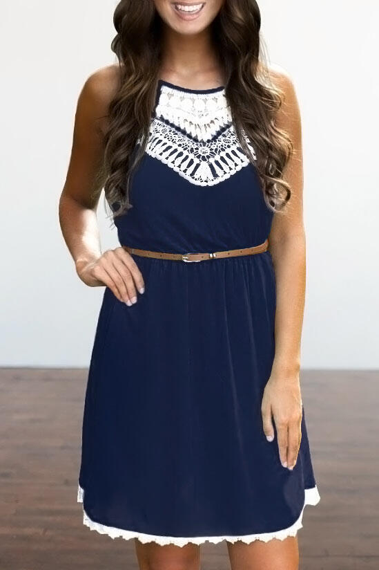 Lace Splicing Hollow Out Sleeveless Mini Dress without Belt - Navy Blue фото