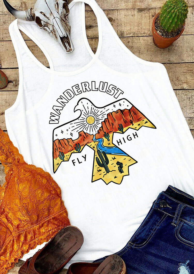 Tank Tops Wanderlust Fly High Cactus Thunderbird Tank in White. Size: S,M,L,XL фото