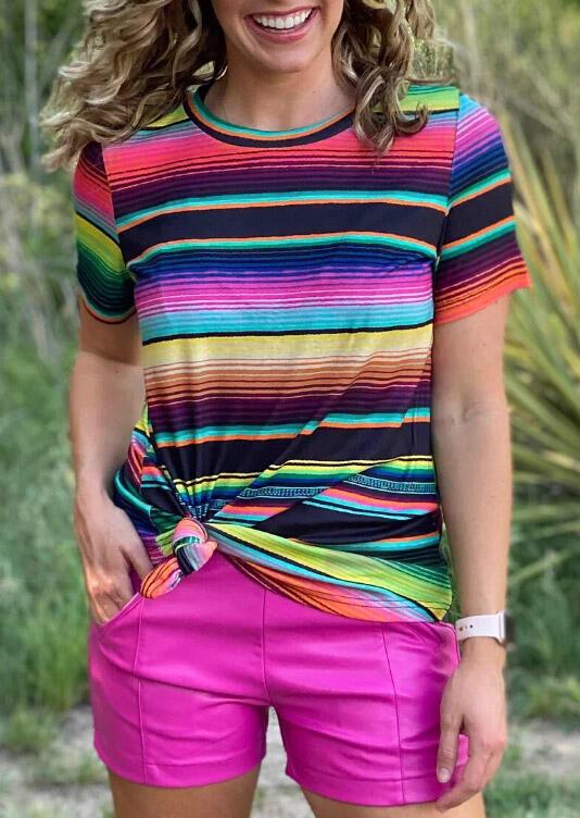Texico Colorful Serape Striped O-Neck T-Shirt Tee фото