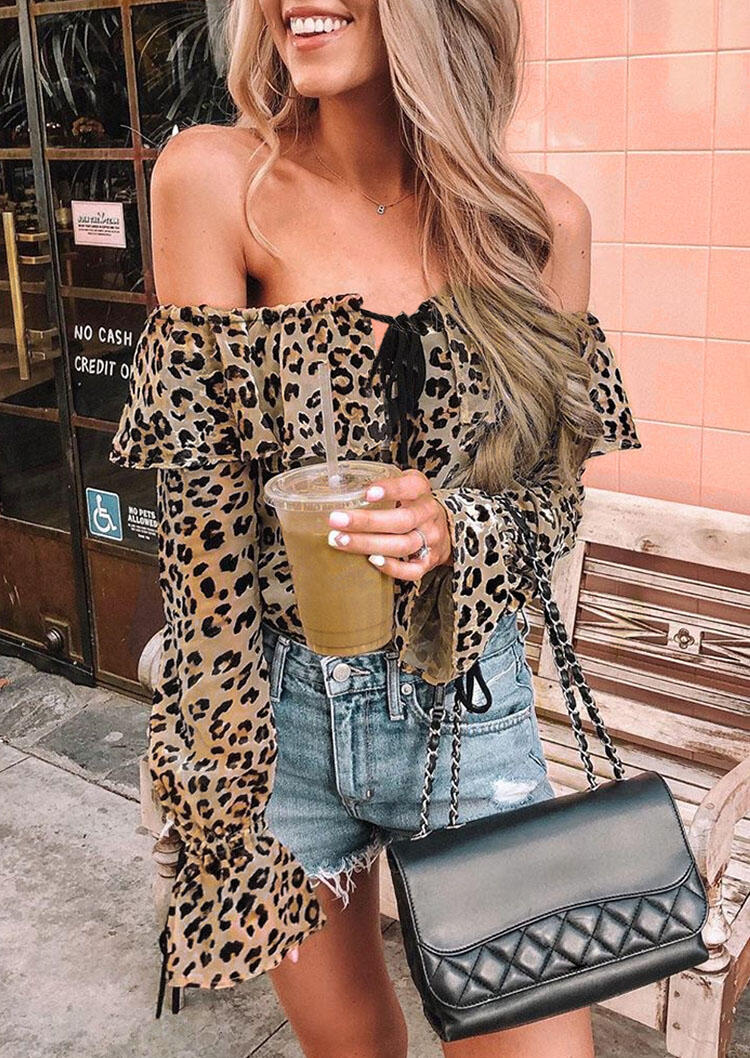 Blouses Leopard Layered Off Shoulder Tie Blouse without Necklace in Leopard. Size: S,M,L,XL фото