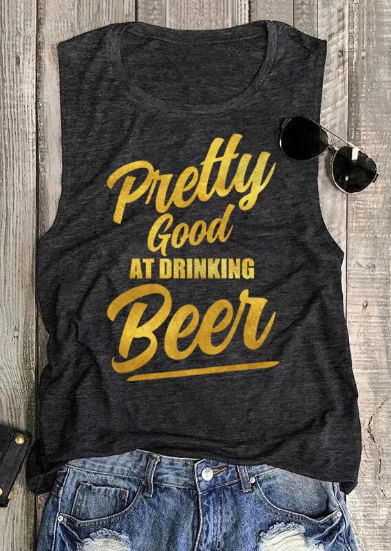 Pretty Good At Drinking Beer Casual Tank - Dark Grey фото