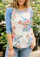 Floral Splicing O-Neck T-Shirt