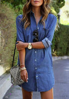 Denim Pocket Button Asymmetric Mini Dress