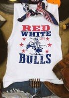 Red White And Bulls Cowboy Star Tank without Silk Scarf