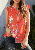 Floral Ruffled Hollow Out Button V-Neck Blouse