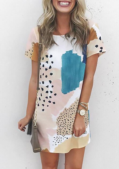 Leopard Splicing Color Block Mini Dress фото