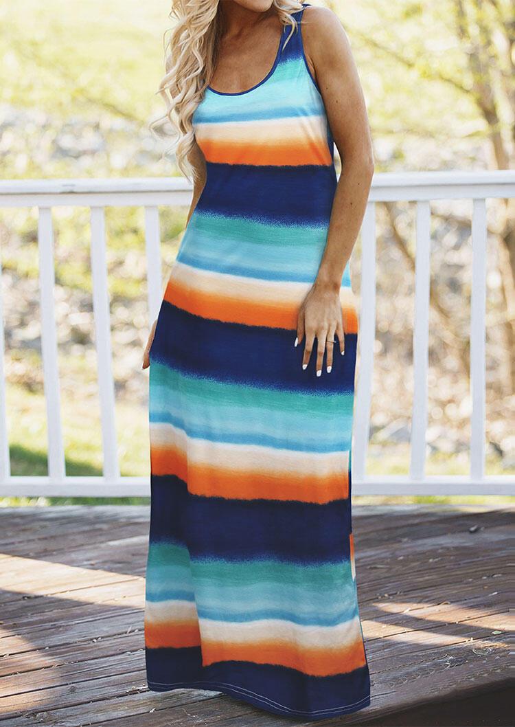 Colorful Striped Sleeveless Maxi Dress фото