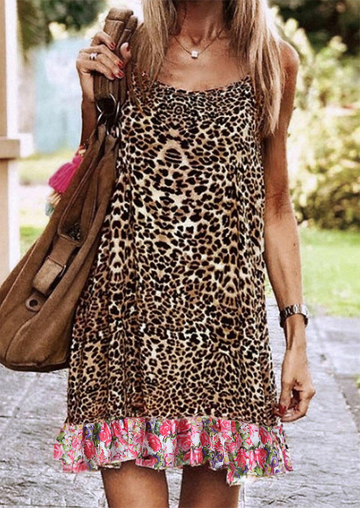Leopard Floral Splicing Spaghetti Strap Mini Dress without Necklace фото