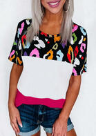 Colorful Leopard Splicing Color Block T-Shirt Tee