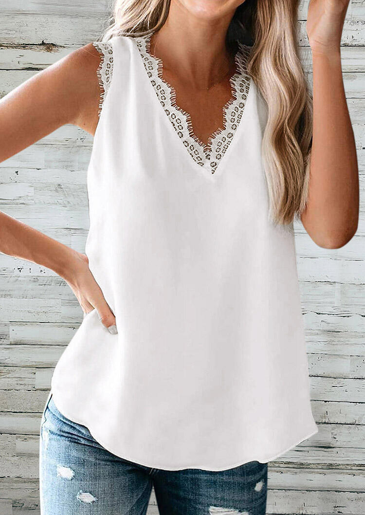 Tank Tops Lace Splicing V-Neck Tank in White. Size: S фото