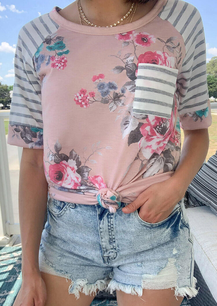 Floral Striped Splicing Pocket T-Shirt Tee without Necklace - Pink фото