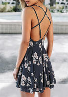 Floral Criss-Cross Ruffled Open Back Mini Dress