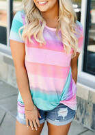 Colorful Striped Twist Blouse