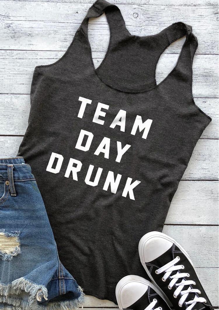 Tank Tops Team Day Drunk Tank in Dark Grey. Size: S фото