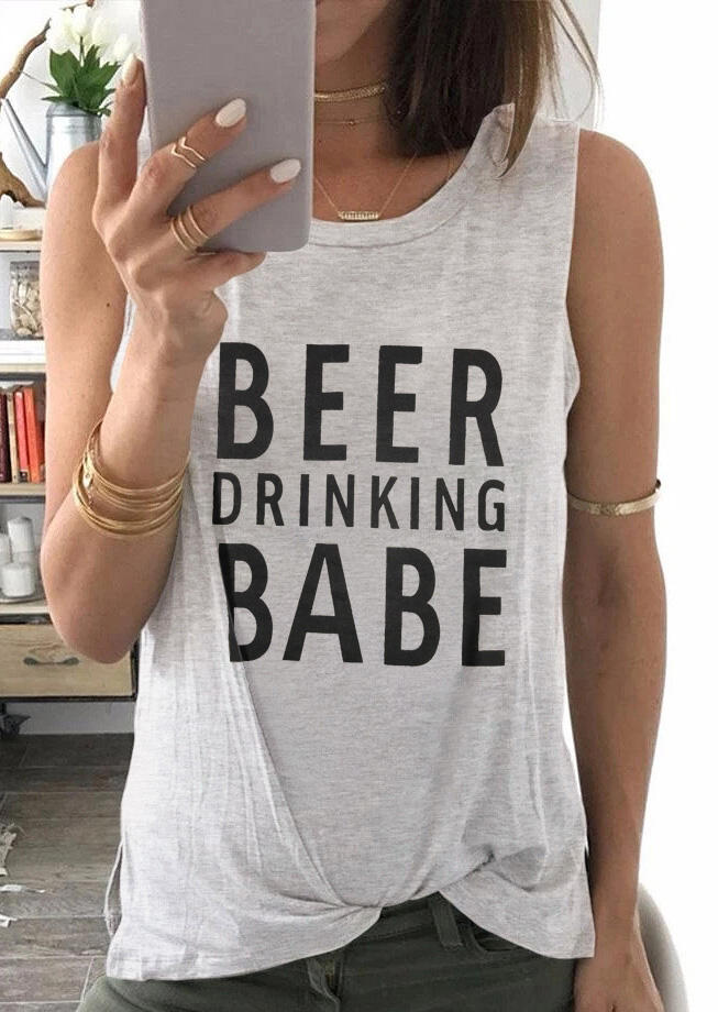 Tank Tops Beer Drinking Babe Tank in Dark Grey. Size: S,M,L,XL фото