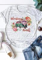 Adventure Awaits Floral T-Shirt