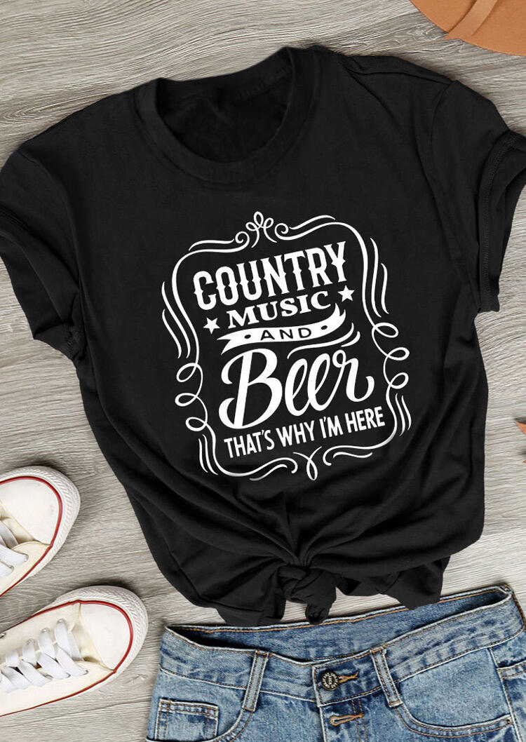 Tees T-shirts Country Music And Beer T-Shirt Tee in Black. Size: S фото