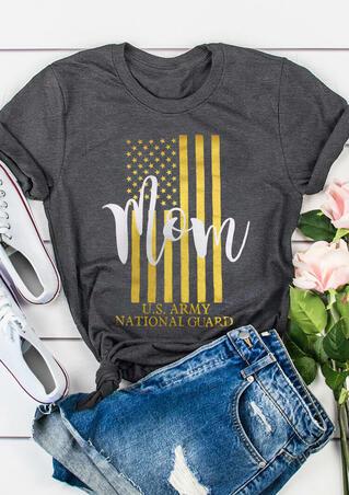 Military Mom American Flag T-Shirt Tee - Gray