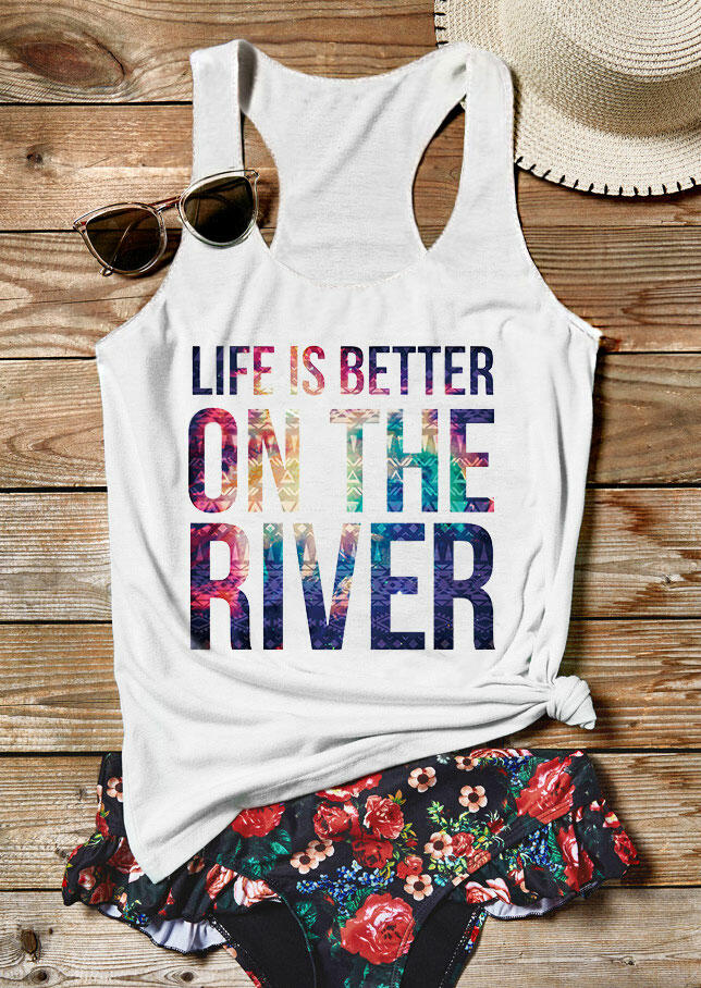 Tank Tops Life Is Better On The River Casual Tank in White. Size: S,M,L,XL,2XL,3XL фото