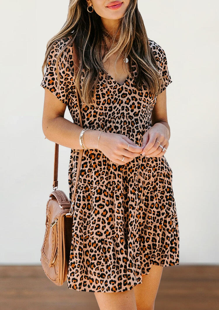 Leopard Ruffled V-Neck Mini Dress without Necklace фото