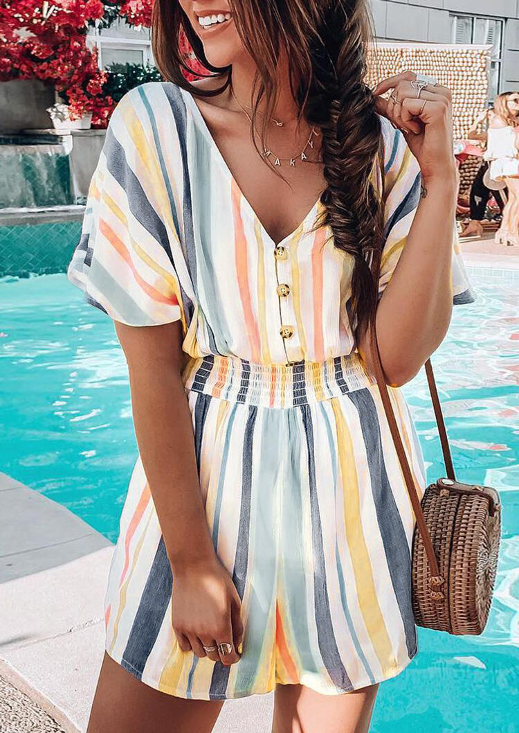 Striped Button V-Neck Romper without Necklace фото