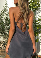 Criss-Cross Tie Open Back Mini Dress